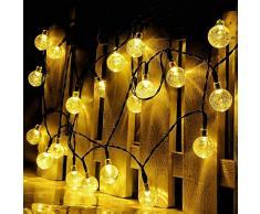 RECESKY con pilas de la cadena de luces, 30LED 6.35m iluminación decoración bola de cristal para Exterior, Interior, Jardín, Patio, césped, vacaciones, hogar, dormitorio, decoraciones de Navidad ( blanco cálido)