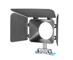 Neewer 15 mm - Caja mate de rieles de carril para cámara réflex digital, sistema de producción de película de video de videocámara, Negro con perilla azul