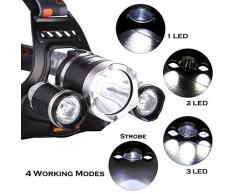 [3 LED,4 Modos] Safebao Ultra Brillante Linterna Frontal 3x LED Luz Faro de Cabeza al Aire Libre Headlight Headlamp para Exterior Senderismo Bicicleta Camping Pesca/ Trabajo Interior