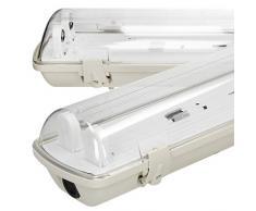 ECD Germany Pantalla carcasa 2x LED a prueba de húmedad 150cm - IP65 a prueba de agua - adecuada para 1x LED T8 - uso en interiores y exteriores - luminaria de baño tubo fluorescente para lámpara