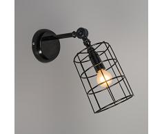 QAZQA Diseño, Industrial, Rústico, Moderno Aplique FRAME C negro, Metal, Cilíndrico, Redonda / Adecuado para LED E14 Máx. 1 x 40 Watt