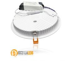 L.H.S ¬ Downlight empotrable placa LED, panel LED , 30W redondo marco Blanco, Color Blanco Frío 6000 - 6500 ºK