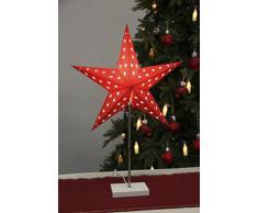 Lámpara de pie Star, Materal: metal / madera / papel, aproximadamente 67x43cm, Color: rojo / blanco