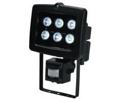 Electraline 63018 - Proyector halógeno con detector (6 W, 6 LEDs), color negro