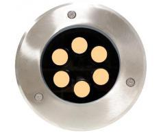 Foco LED de suelo 6W 150mm luz blanco cálida - Cablematic