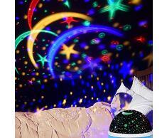 Proyector de Estrellas, omitium LED Luz nocturna Proyector de estrella 360° rojo fluorescente de proyección Romántico Cielo estrellado Led Proyector Ideal para partes, habitación de los Niños, Navidad–Azul