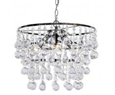 Nino Leuchten 33440306 Pendel London - Lámpara de techo (cromo y fibra acrílica, 3 bombillas E14, 40 W, anchura: 40 cm, altura: 27 cm), color transparente