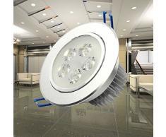 FEITONG 5W LED empotrada en el techo Lámpara del proyector de Downlight La bombilla 85-265V de alta calidad (Blanco frío)