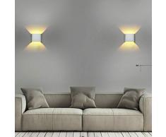 5W LED Apliques de Pared, Lámpara de Pared Interior Con Luz Blanca Cálida, Ideal Para Sala de Estar Escaleras de Escalera del Vestíbulo del Dormitorio (2 piezas)