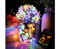 Cadena solar de luces LED Salcar de 5 metros, 20 la flor de cerezo de decoración, luminaria para navidad, fiestas, celebraciones (RGB)