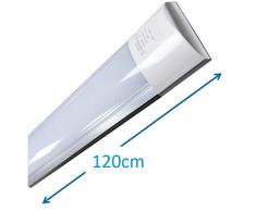 (LA) Pantalla Carcasa Tubo led integrado blanco neutro 4500K, 36w 120cm, equivalente a 2 tubos fluorescentes o Led 3300lm. Regleta led slim.