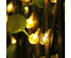 Cadena solar de luces LED Salcar de 5 metros, 20 esferas de decoración, luminaria para navidad, fiestas, celebraciones (blanco cálido)