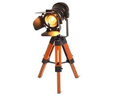 BarcelonaLED LV238 Lámpara de pie vintage con trípode de madera, diseño cine náutica industrial, foco proyector orientable negro, para bombilla E27, 67cm