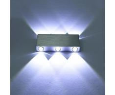 Maxmer Apliques de Pared Puro Aluminio 6 LED 6W Lámpara de Pared Interior Luz Para Dormitorio Escalera Blanco Frío