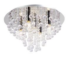Nino Leuchten 63040506 - Lámpara de techo de cromo y cristal, diámetro de 46 cm, 5 bombillas