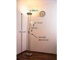 Lámpara de pie LED Marana de color níquel con brazo de lectura