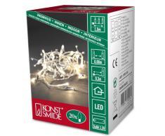 Konstsmide 3180-103 - Guirnalda LED para el árbol de navidad (perlas de cristal, 20 diodos de blanco cálido, pilas 3 x AA de 1,5 V)