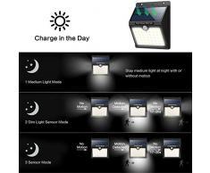 Yacikos Solar Light - Lámpara Solar Exterior con Sensor de Movimiento, Luces de Pared con 3 modos, 1800mAh, 4 Paquetes