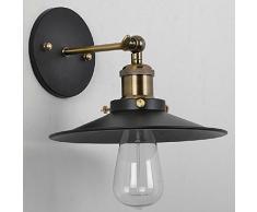 Glighone Apliques de Pared 40W Lámpara Industrial Luz Vintage Luz de Metal Iluminación Retra Casquillo E27 para Decoración Casa Cafetería, La Carcasa de Fuera o Tulipa Negro