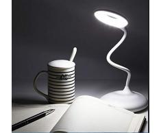 JANDEI - Lámpara Escritorio LED 3W USB Recargable, Regulable y Orientable Con Bateria Luz Blanca Natural 4000K 1200mAH