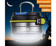 Lighting EVER 3300010-NW LE Linterna LED Camping USB Recargable, Luz Blanca Neutra 280lm, Función Powerbank 3000mAh, Resistente al Agua, con Gancho e Imanes, Mens, 70mm (Diámetro ) 63mm(Altura)