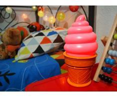 Lámpara Infantil Helado de Color Rosa - Luz Infantil Nocturna para Mesilla de Noche y Luz Quitamiedos LED Para Niños y Adultos. Ligera y Fácil de Manejar. Luz de Noche o de Escritorio, También Ideal Para Decoración de Cumpleaños,