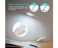 Lámpara Pinza, Lámpara Lectura 3W, 20 LEDs Flexo Pinza LED (Carga USB, Uso Inalámbrico con Batería, Control Táctil, 3 Niveles Luces, Función de Memoria, Cuidado a Vista) lampara para leer en cama