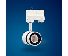Foco Proyector Led de 3 Fases 12 W Blanco Lámpara para Sistema de Rieles
