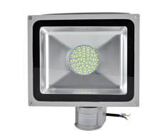 Leetop 50W Blanco Frío LED Foco Proyector Luz, Foco Proyector con Iluminación LED y PIR Sensor de Movimiento