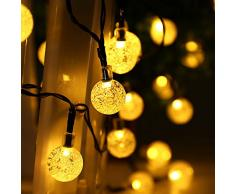 Qedertek Guirnaldas Luces Exterior Solar, Cadena de Bola Cristal Luz para Exterior, 6M 30 LED, Guirnalda Luminosa Impermeable, Luces Decoración para Jardín, Casa, Bodas, Jardine (Blanco Cálido)