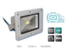 Foco Proyector Led de aluminio de alto brillo de 30W, suspensión giratoria variable, 2100 lumens, luz fría 6400K, uso externo, IP65, 230V