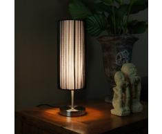 Ranex Udo - Lámpara de mesa, tela, plástico y metal satinado, color blanco