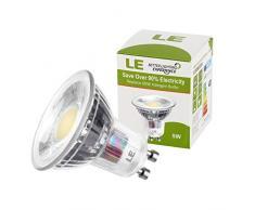 LE Pack de 10 bombillas LED, MR16, casquillo GU10, consumo 5W, equivalente a bombillas halógenas de 60W, 420lm, luz blanca cálida (3000K), ángulo de haz 30°, foco, downlight, luz descendente, luz empotrada descendente, para rieles