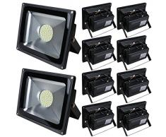 Pack of 10,Luz 50W SMD Foco LED Proyector de exterior - Blanco cálido