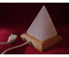 Lámpara de Pirámide de USB de Escritorio de Sal del Himalaya Multicolor