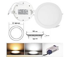 6/9/12/15/18/24W LED de Luz de la Lámpara del Techo Regulable Colgante Redondo Ultradelgado Downlight Empotrado (12W/160 mm/Blanco Cálido/ Regulable)
