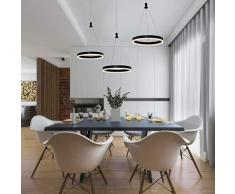 LED Redondo Colgante de Luz 3 Luces Moderno Luminaria Regulable 48W Pendiente de Lámpara Restaurante Comedor Lámpara De Suspensión Acrílico, Aluminio Negro Dormitorio Iluminación 3000-6000K Ø20CM