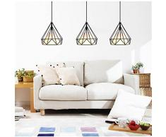 Lámpara colgante Moderna minimalista estilo industrial personalidad creativa retro hierro tres restaurantes para lámparas de techo Salón dormitorio den araña [Eficiencia: A +] ( Color : Pantalla blanca , Diseño : 3 Horizontal )