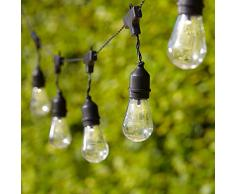 Lights4fun - Cadena Solar de 15 Bombillas Transparentes con LED Blanco Cálido