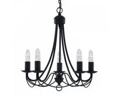 Searchlight - Candelabro de hierro con 5 lámparas para techo, color negro