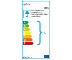 QAZQA Moderno Plafón DRUM 70 arpillera negro Vidrio/Textil/Acero Redonda Adecuado para LED Max. 6 40 x Watt