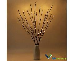 Lámpara decorativa con ramas y 20 LEDs que funciona con baterias para Navidad, Halloween, bodas, bautizos. Luz blanca o cálida. 3 PCS