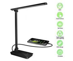 Phiraggit Lámpara Escritorio LED,30 LEDs Regulable,Leds Lámparas Mesa USB Recargable 3 Brillos 2 Color,Protección para los Ojos [Clase de eficiencia energética A+++] para Leer,Estudiar