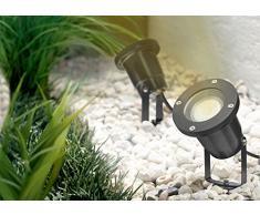 Trango de 1 & 2 de flammiger IP65 de aluminio fundido - Foco de exterior (de jardín (Incluye 2 x 3 W GU10 LED & Cable de 3 M & Estaca