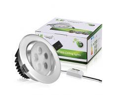 LE 5W LED luces empotradas de techo de Plata Brillante, Equivalente bombilla de halógeno 50W, blanco diurno, luz empotrada, Downlight