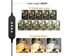 PinShare Home Lámpara de Lectura LED USB con Clip- Lámpara de Escritorio de Mesa de 5W, Iluminación con 3 Modos de Luminosidad, para la Oficina, Hogar, Lectura, Estudio, Trabajo (Negro)