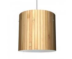 banjado - Diseño - Lámpara de techo - Lámpara de techo (26 cm de diámetro con diseño bambú madera