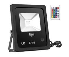 LE Control Remoto RGB 10W Proyectores LED, Luz que Cambia de Color de Seguridad, 16 Acabados y 4 Modos, Luz de Inundación del LED Impermeable, Enchufe de la UE, Arandela de la Pared Luz