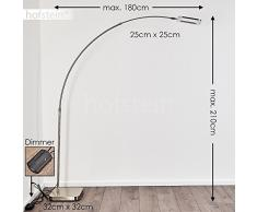 Lámpara de pie LED de metal en níquel mate, para salón, dormitorio, oficina, en arco, regulable, altura y alcance ajustables, 3000 Kelvin, 1500 lúmenes