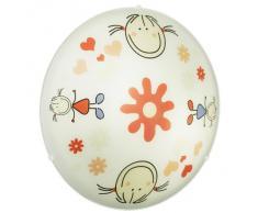 Eglo 88973 Junior 2 - Lámpara de techo y pared (acero y cristal, 2 bombillas E27, máx. 60 W, diámetro de 39,5 cm), diseño de niña, color blanco